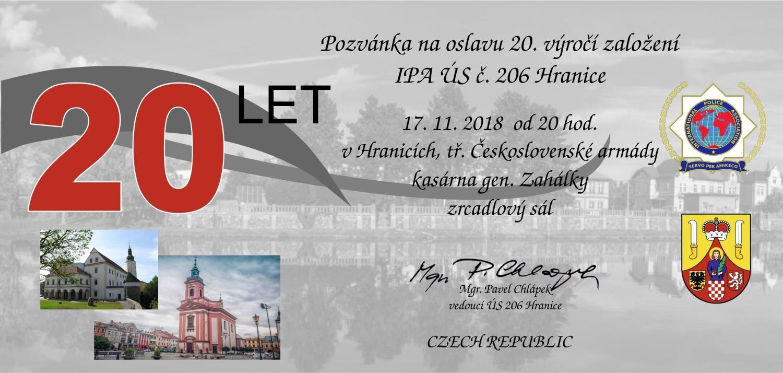 Oslava 20. výročí založení IPA ÚS č. 206 Hranice, Česko
